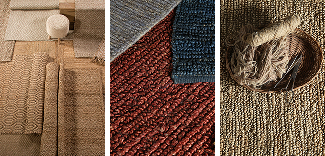 Jute and hemp multi-color rugs