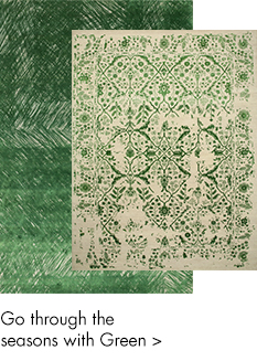 Green color handmade rugs-m
