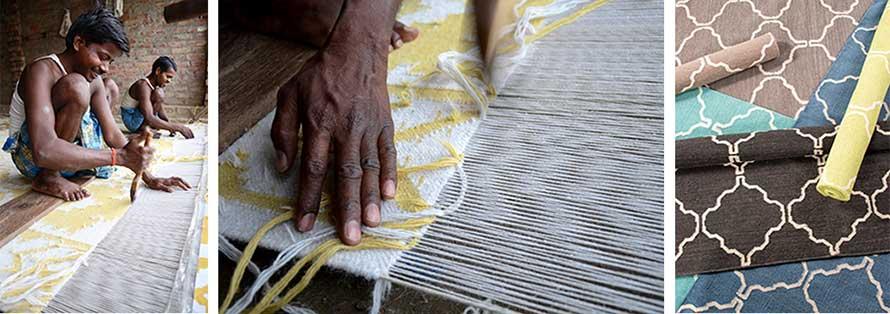 Flat weave rug making process