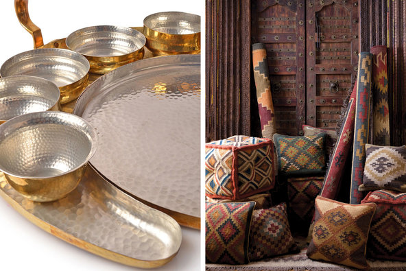 From left: hammered metal servingware at Anantaya; the selection at Jaipur Rugs.